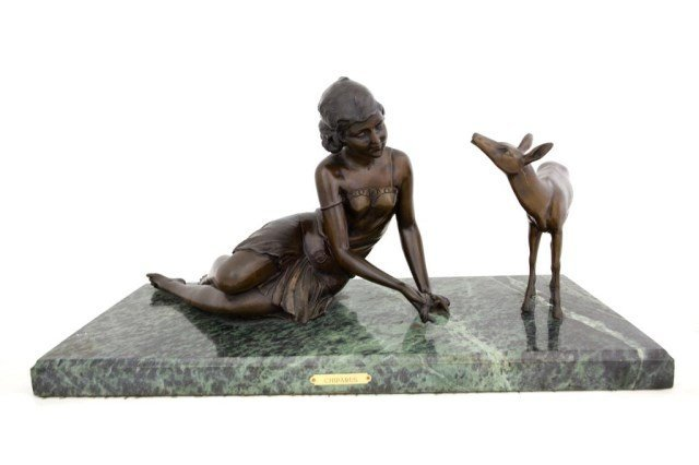 BRONZE STATUE PAIR OF A LADY AND A DEER