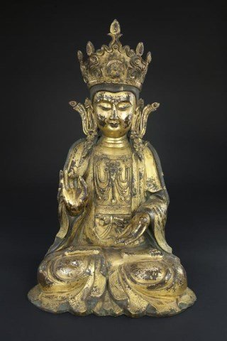 LARGE ANTIQUE CHINESE BRONZE SEATED GUANYIN