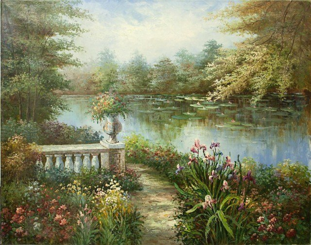 LARGE OIL ON CANVAS PAINTING OF A PONDSIDE PATHWAY