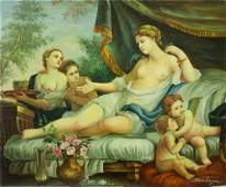 OIL ON CANVAS PAINTING OF A RECLINING WOMAN