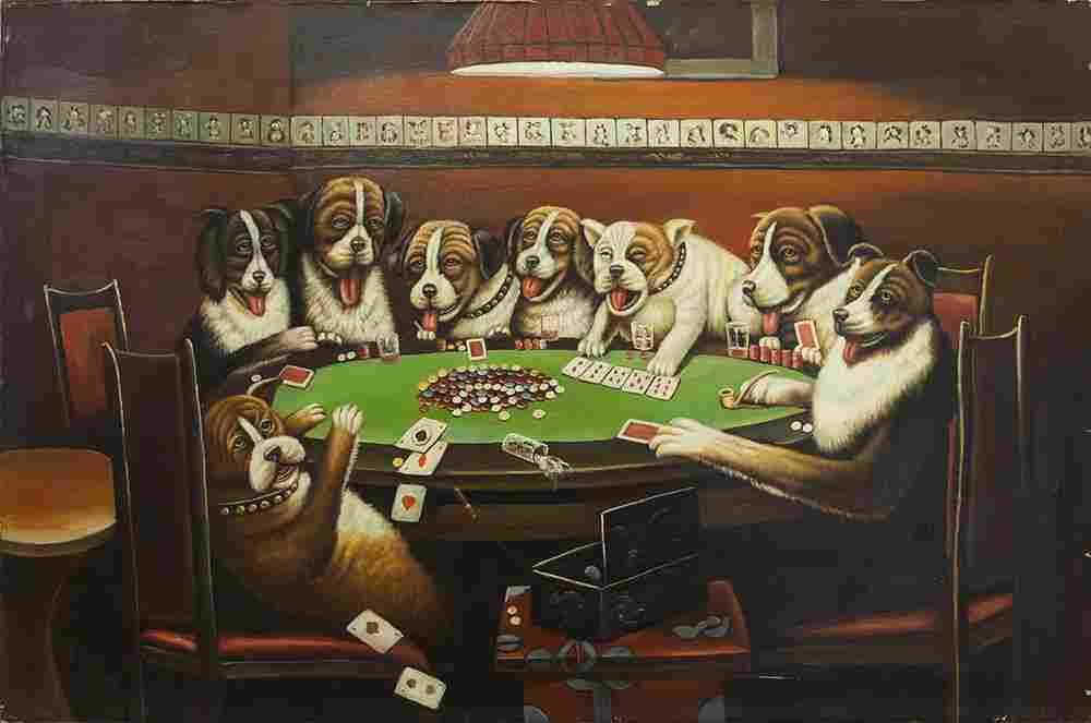 OIL ON CANVAS PAINTING OF DOGS PLAYING POKER