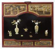 CHINESE WOOD WALL PLAQUE WITH JADE APPLIQUES