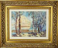 WATERCOLOR PAINTING OF LAKE AND FOREST