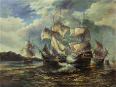 LARGE MARITIME OIL ON CANVAS PAINTING
