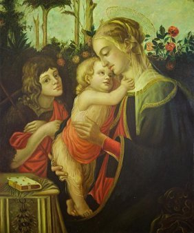 Oil Painting On Canvas Of Madonna And Child