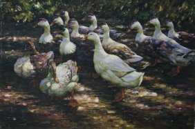 Oil Painting On Canvas Of Geese