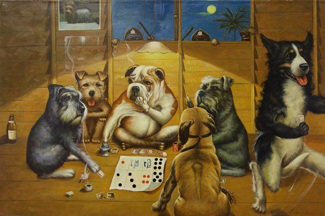 OIL PAINTING ON CANVAS DOGS PLAYING POKER