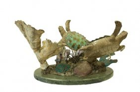 'on The Reef' Bronze Sculpture On Marble Base