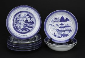 Nine Chinese Assorted Blue And White Dishes