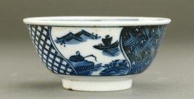Antique Japanese Blue And White Porcelain Bowl