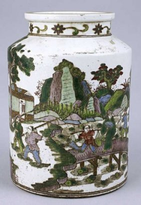Antique Chinese Famille Verte Tea Caddy