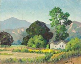 Oil On Canvas Painting Of Village Scene