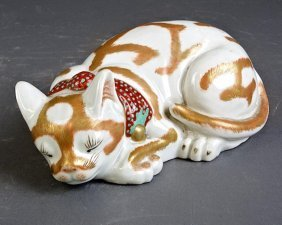 Japanese Kutani Porcelain Sleeping Cat