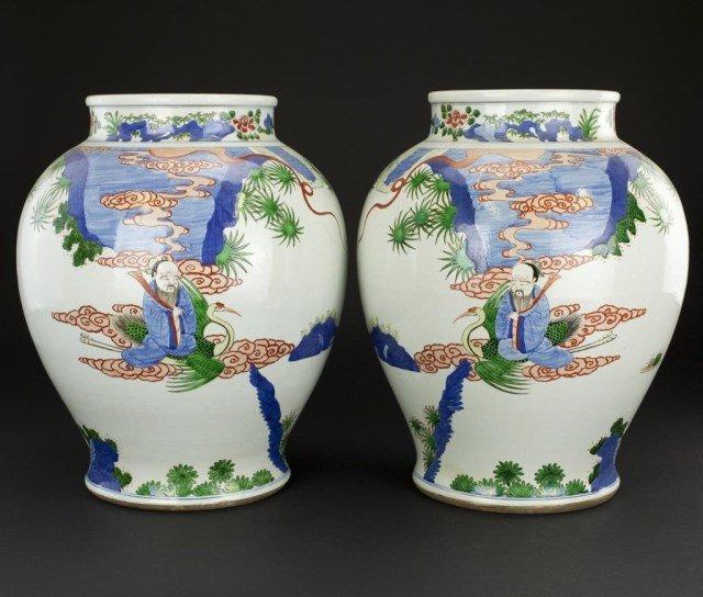 PAIR OF LARGE CHINESE BALUSTER JARS