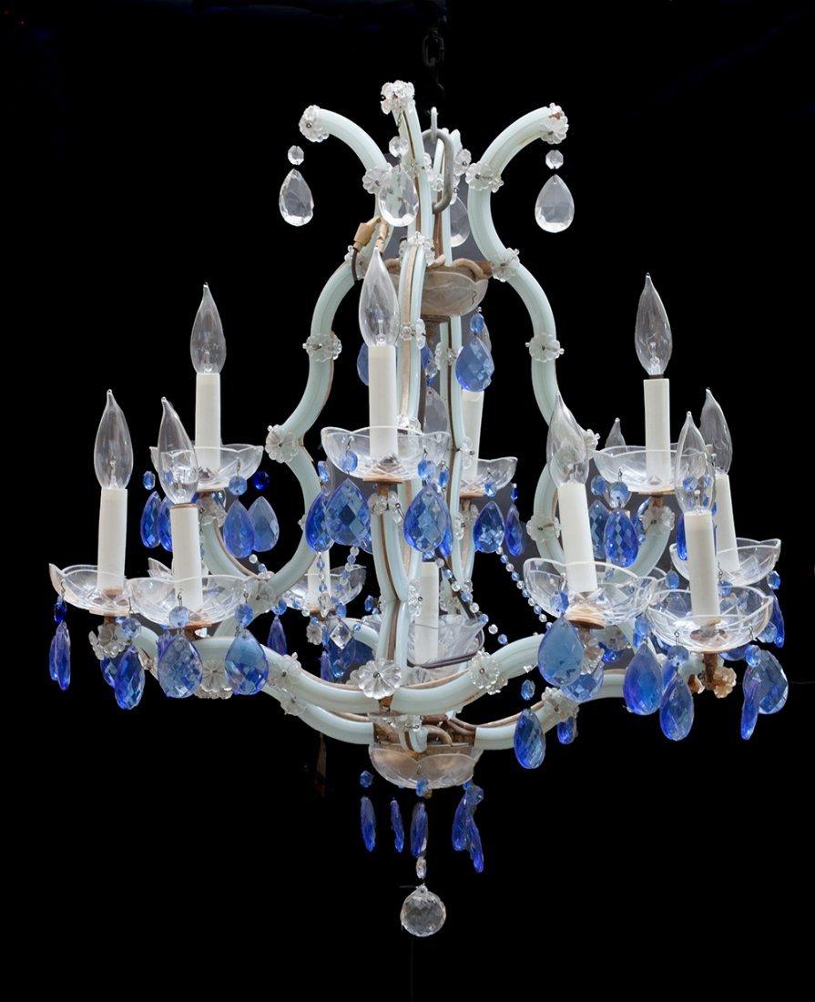 ART DECO STYLE BLUE GLASS 12-LIGHT CHANDELIER