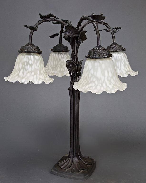 EUROPEAN BRONZE LAMP WITH GLASS SHADE