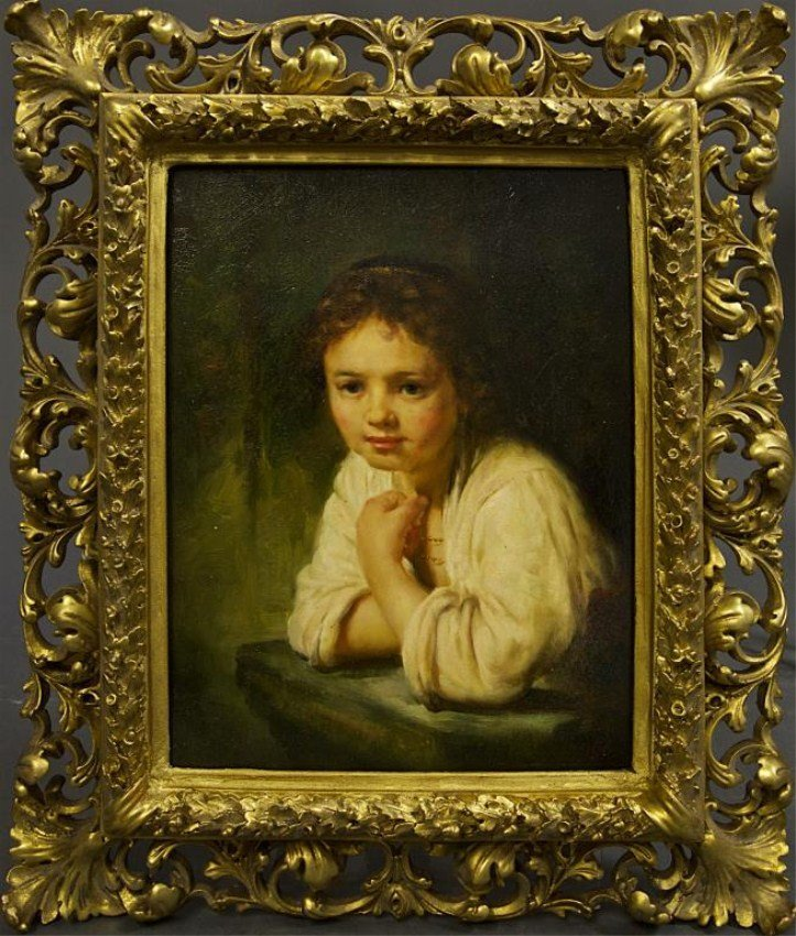 OIL ON BOARD PAINTING OF A GIRL WITH GILT FRAME