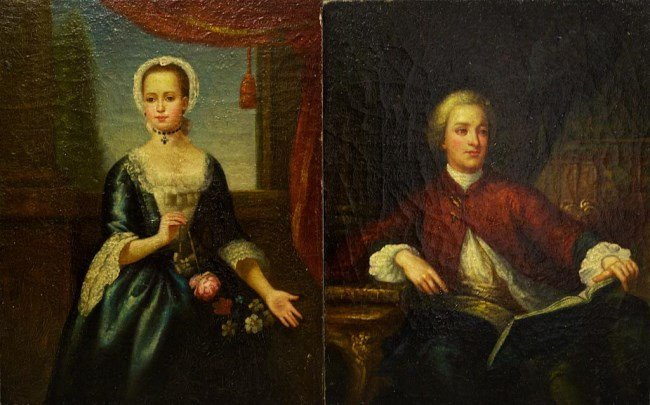 TWO SMALL OIL ON BOARD PAINTING OF PORTRAITS