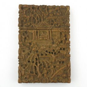 Antique Chinese Carved Sandalwood Card Holder