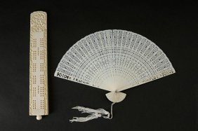 Chinese Carved Game Counter And Carved Fan