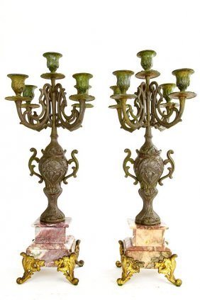 Pair Of Spelter And Marble Candle Holders