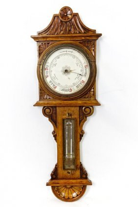 American Carved Wood Barometer Thermometer