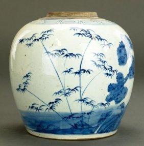 Antique Chinese Blue & White Ginger Jar