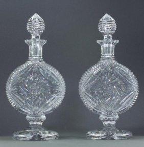 Pair Of American Cut Crystal Brandy Decanters