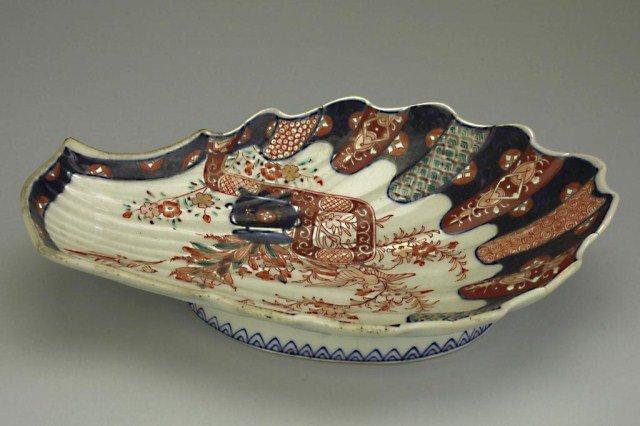 19TH CENTURY JAPANESE IMARI SEASHELL DISH