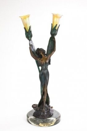 """""""dragonfly Girl"""" Bronze Lamp With Glass Shades"""