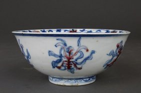 Chinese Blue And White And Iron-red Bowl
