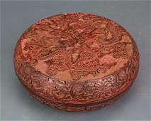 CHINESE CINNABAR LACQUER ROUND BOWL WITH LID