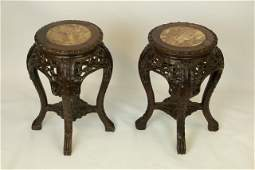 PAIR OF CHINESE HARDWOOD CIRCULAR SIDE TABLES