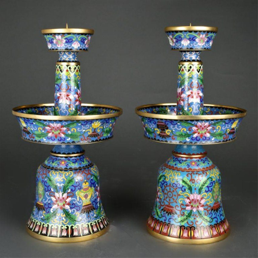 PAIR OF CHINESE CLOISONNE PRICKET CANDLE HOLDERS