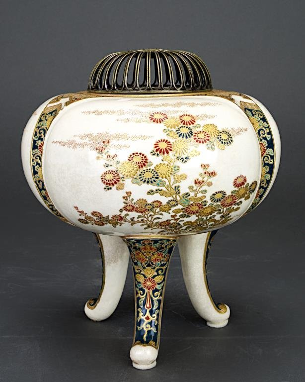 JAPANESE SATSUMA TRIPOD CENSER WITH SILVER TOP