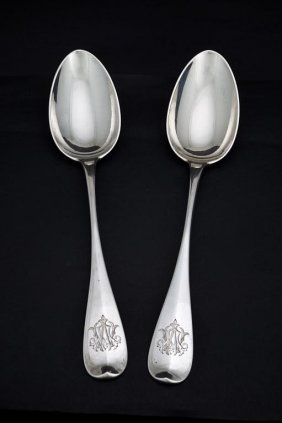 Two Russian Faberge Sterling Silver Serving Spoons