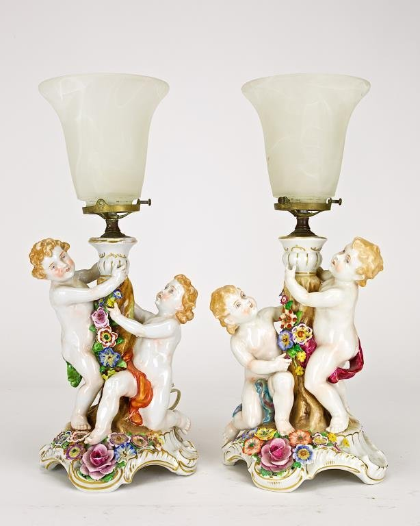PAIR OF GERMAN PORCELAIN LAMPS