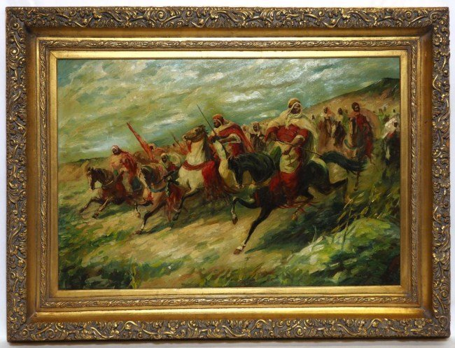 FRAMED OIL PAINTING OF SOLDIERS ON HORSES