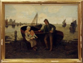 Framed Antique Oil Painting Of A Family