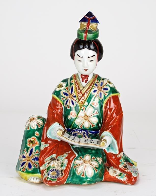 JAPANESE SEATED PORCELAIN GEISHA