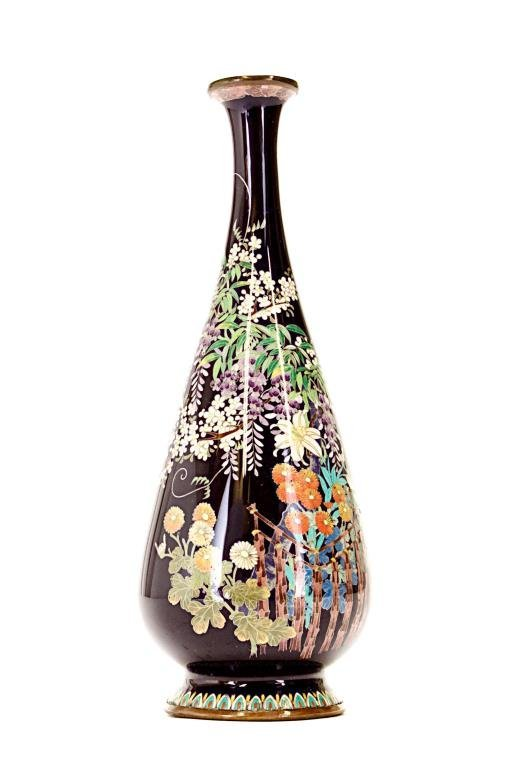 SMALL JAPANESE CLOISONNE PEAR FORM VASE