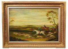 OIL ON CANVAS PAINTING OF ENGLISH HUNTING SCENE