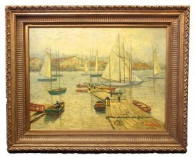 Oil On Canvas Painting Of Harbor Scene