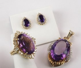 Amethyst And Diamond Jewelry Set
