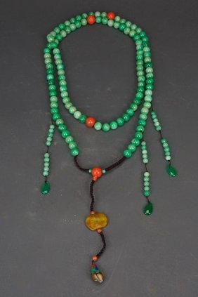 Chinese Carved Jade Bead Mandarin Necklace