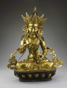 Antique Chinese Bronze Figure Of Guanyin