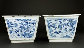 Pair Of Antique Chinese Blue & White Jardinieres