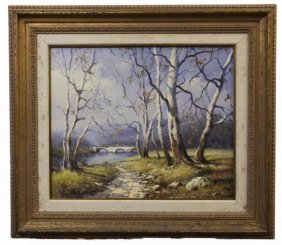 Winter River Scene Oil On Canvas Painting