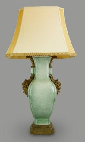 Massive Chinese Celadon Vase As A Lamp With Bronze