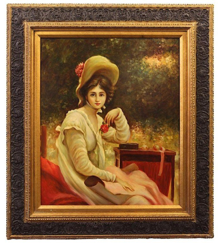 PORTRAIT OF A YOUNG WOMAN, OIL ON CANVAS PAINTING